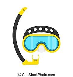 vetorial, aquático, símbolo, máscara, lazer, aventura, água, equipamento, óculos proteção, amarela, mergulhar, icon., desporto, snorkeling, óculos