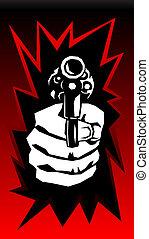 vetorial, arma, mão