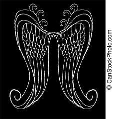 vetorial, arte, desenho, mão, asas