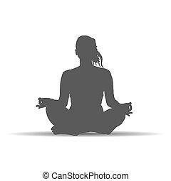 vetorial, arte, poses, silueta, mulher, ioga