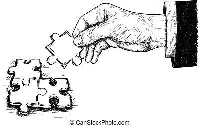 vetorial, artisticos, desenho, ilustração, de, três, quebra-cabeça, pedaços, conectado