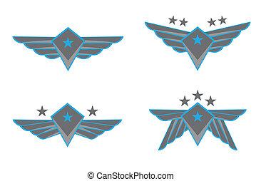vetorial, asas, ilustração