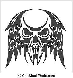 vetorial, asas, ilustração, cranio
