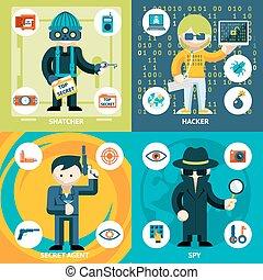 vetorial, atividade, espionagem, gráficos, criminal