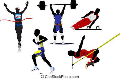 vetorial, atlético, desporto, silhouettes., ilustração