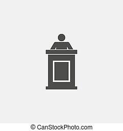 vetorial, atrás de, pretas, color., ícone, homem, pódio, eps10, desenho, ilustração, apartamento