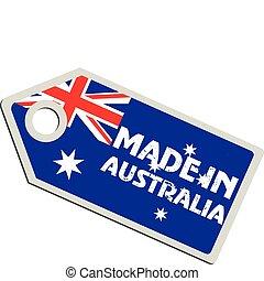 vetorial, austrália, etiqueta, feito