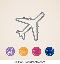 vetorial, avião, ícones
