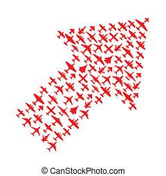 vetorial, aviões, right-top, seta