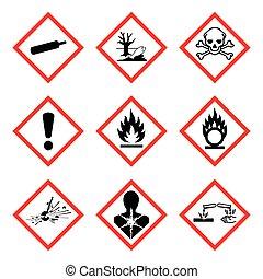 vetorial, aviso, ), (, perigo, novo, isolado, 9, sinal, pictogram., whmis, ghs, ilustração