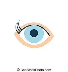 vetorial, azul, desenho, ícone, olho, isolado
