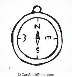 vetorial, bússola antiga, mão, desenhado