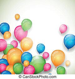 vetorial, balões, fundo