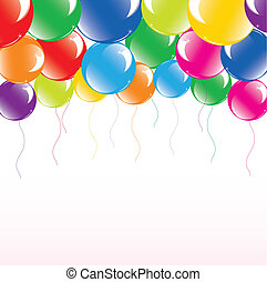 vetorial, balões, ilustração, coloridos, festivo