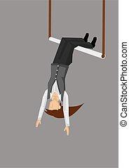 vetorial, balançando, trapézio, mulher, ilustração