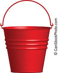 vetorial, balde, ilustração, vermelho