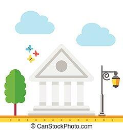 vetorial, banco, ilustração, edifício.