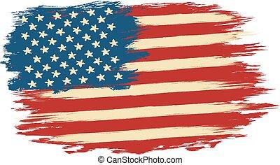 vetorial, bandeira americana, em, estilo retro
