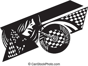 vetorial, bandeira, checkered, illustration., bike.