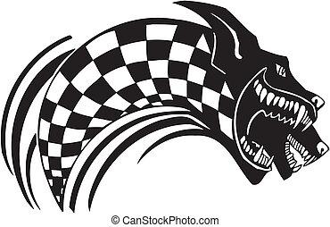 vetorial, bandeira, checkered, illustration., wolf.