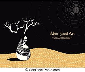 vetorial, bandeira, com, text., boab, (baobab), árvore, vetorial, painting.