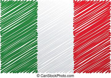 vetorial, bandeira, ilustração, italiano