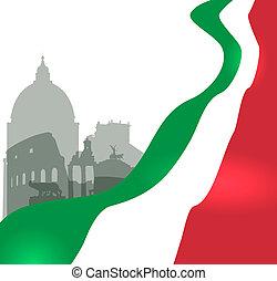 vetorial, bandeira, roma, ilustração, italiano
