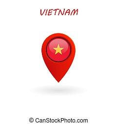 vetorial, bandeira vietnam, localização, ícone