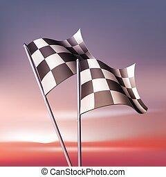 vetorial, bandeiras, checkered