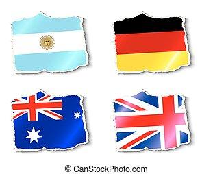 vetorial, bandeiras, mundo, ilustração