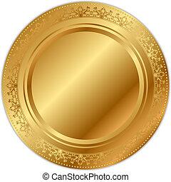 vetorial, bandeja, ilustração, ouro