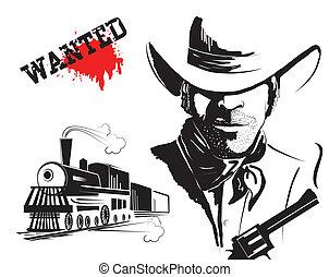 vetorial, bandido, e, locomotive., ocidental, cartaz
