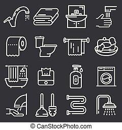 vetorial, banheiro, banheiro, jogo, ícones