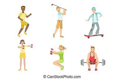 vetorial, barbell, esportes, mulheres, tipos, tocando, jogo, skateboard, montando, esportiva, homens, pessoas, diferente, sacudindo, ilustração, golfe, dumbbells, exercitar
