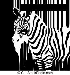 vetorial, barcode, silueta, zebra, manchas