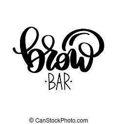 vetorial, barzinhos, salão, sobrancelha, beleza, sobrancelha, caligrafia, logo., barras