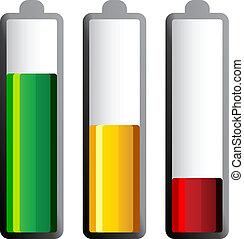 vetorial, baterias, com, diferente, débito, níveis