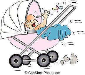 vetorial, bebê, pram., chorando