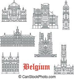 vetorial, belguim, edifícios, ícones, arquitetura