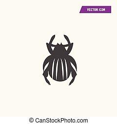 vetorial, besouro, ícone, isolado, ilustração