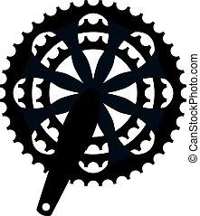 vetorial, bicicleta, cogwheel, crankset, sprocket., bicicleta, crankset, cassete, símbolo