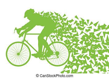 vetorial, bicicleta, conceito, dirigindo, ecologia, fundo