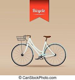 vetorial, bicicleta, retro, ilustração