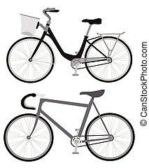 vetorial, bicicleta, retro