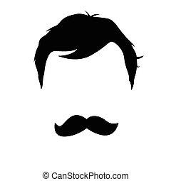 vetorial, bigode, homem