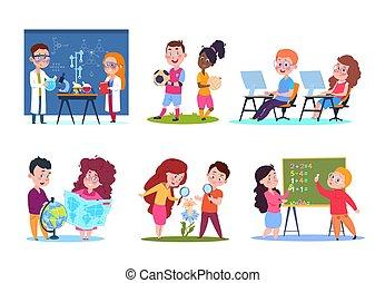 vetorial, biologia, crianças, math., lessons., crianças escola, química, aprendizagem, jogo, caráteres, caricatura, geografia