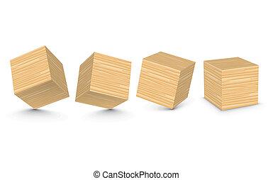vetorial, blocos madeira