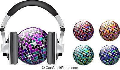 vetorial, bola, discoteca