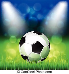 vetorial, bola futebol, fundo, estádio
