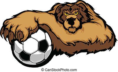 vetorial, bola futebol, urso, mascote
